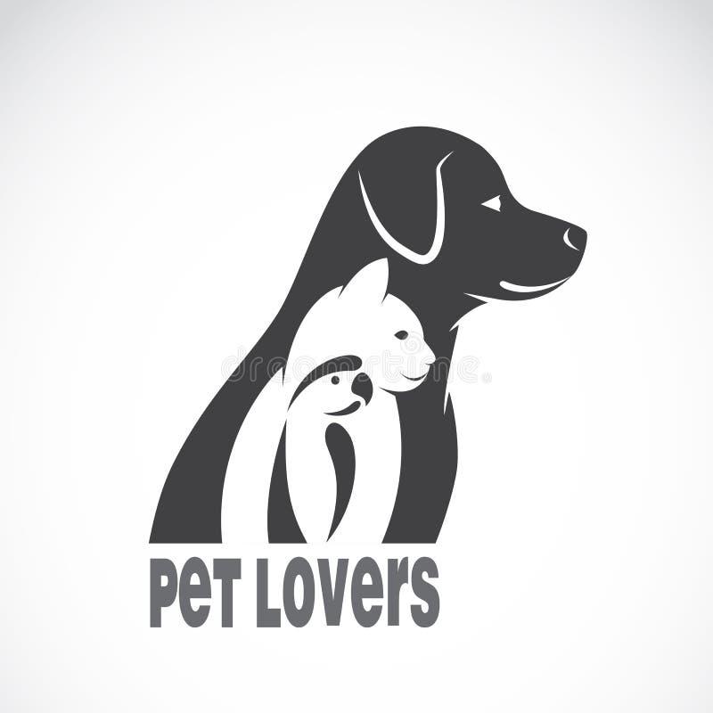Vector a imagem de um gato e de um pássaro do cão ilustração royalty free