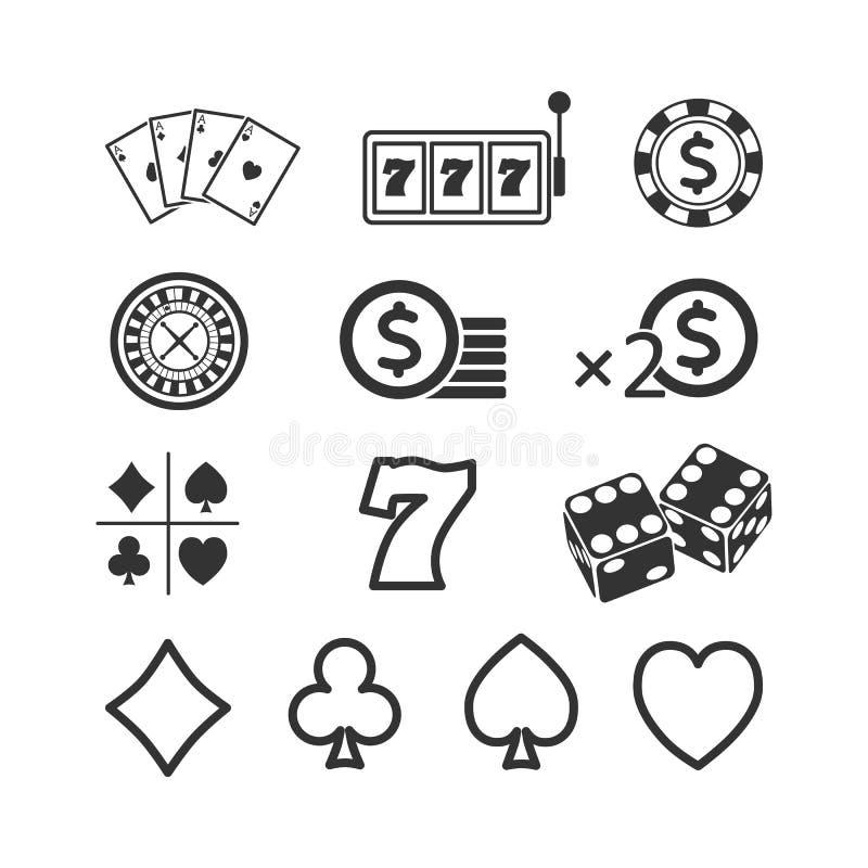 Vector a imagem de um grupo de ícones do jogo Ícones do casino ilustração royalty free