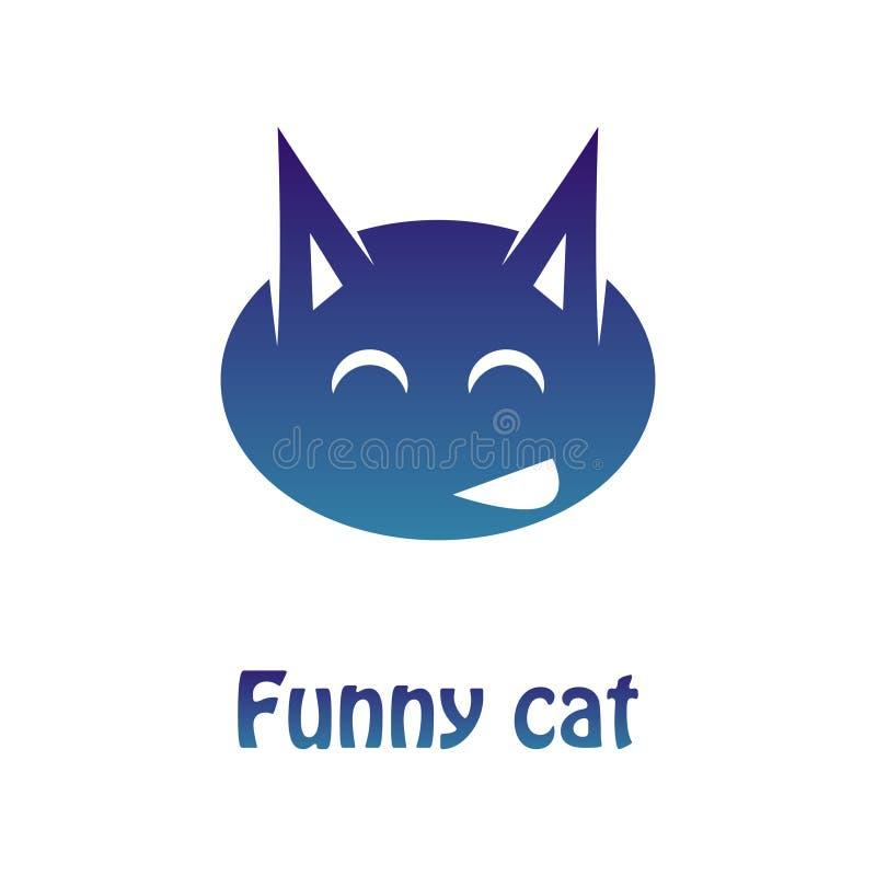 Vector a imagem de um logotype multi-colorido de um gato alegre Teste padrão liso ilustração do vetor