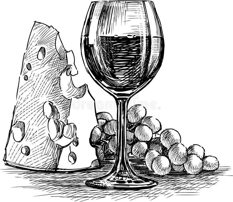 Vinho do queijo e da uva ilustração stock