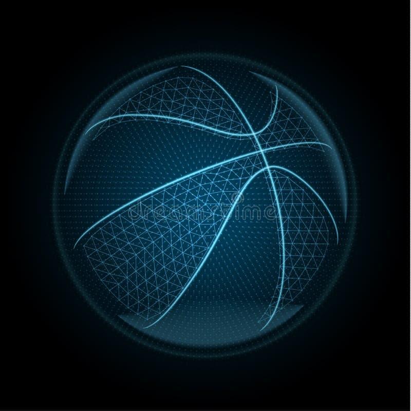 Vector a imagem de uma bola do basketballl feita de linhas de incandescência, pontos ilustração stock