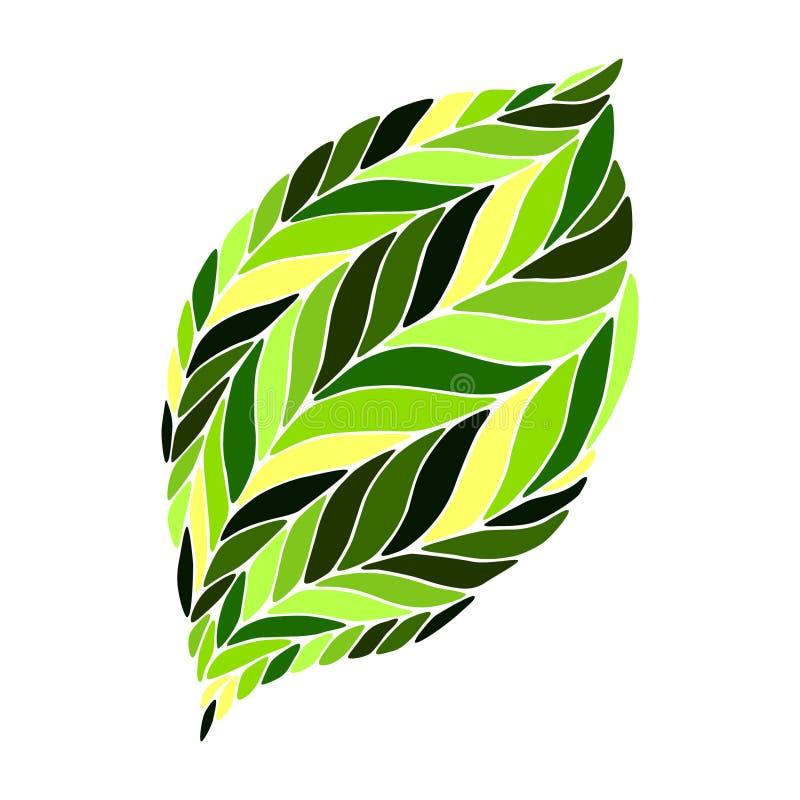 Vector a imagem de uma folha nas máscaras do verde ilustração stock