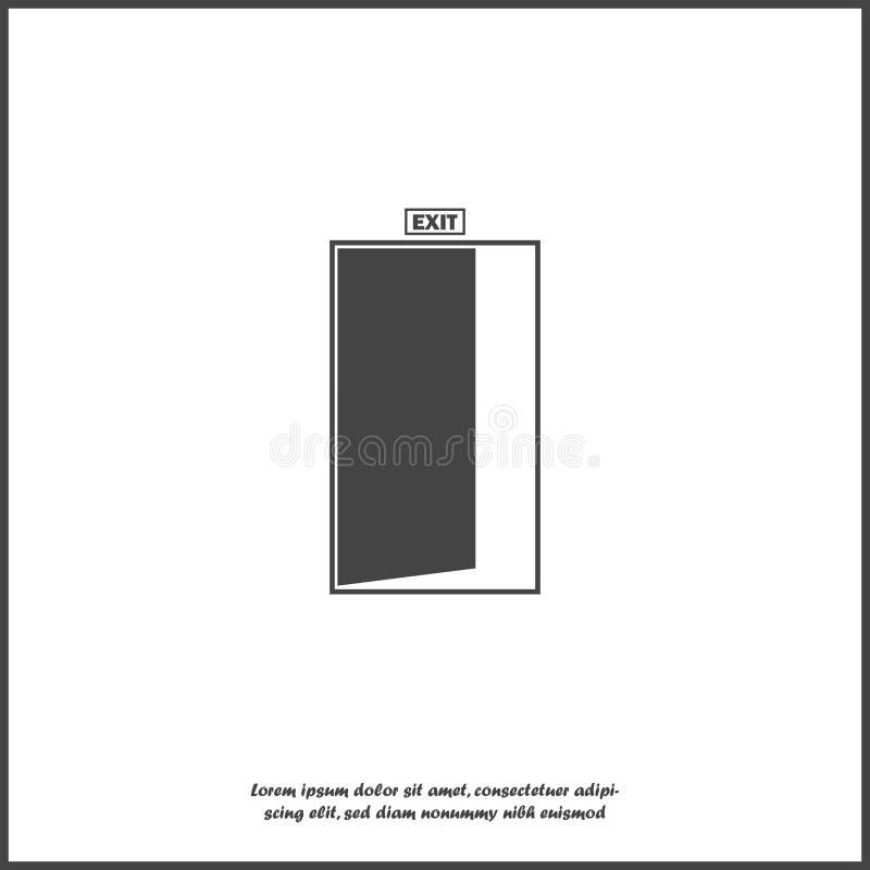 Vector a imagem de uma porta com uma saída da inscrição Ícone do vetor no fundo isolado branco ilustração royalty free