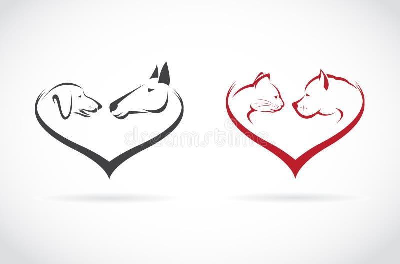 Vector a imagem do animal na forma do coração no fundo branco ilustração do vetor
