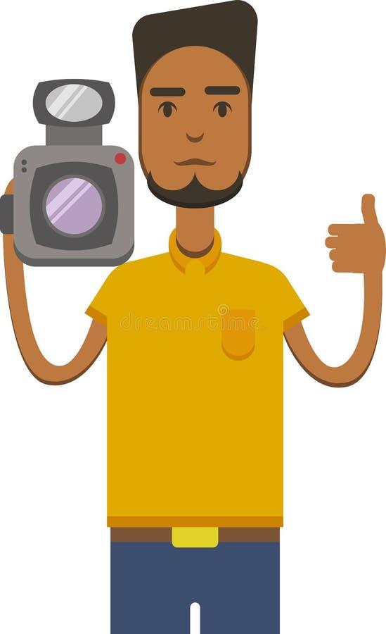 Vector a imagem do homem americano do africo com câmara de vídeo ilustração stock