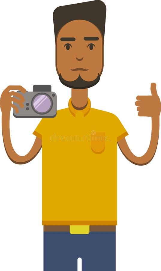 Vector a imagem do homem americano do africo com câmera ilustração royalty free