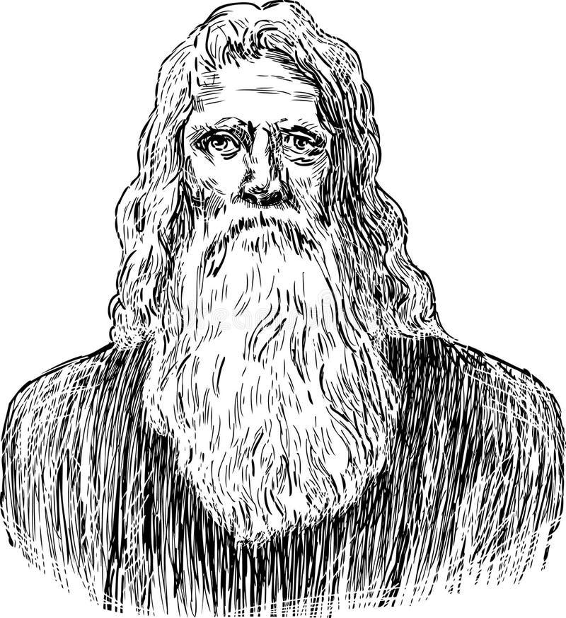 Ancião do século XIX ilustração stock