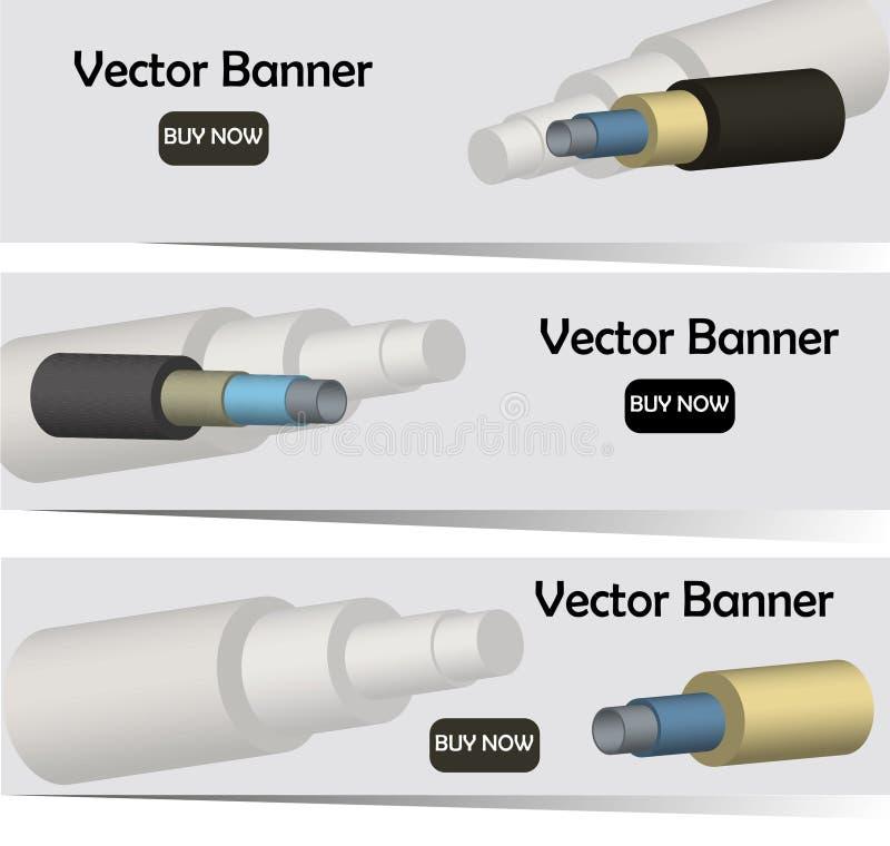 Vector a imagem do whith 3D das bandeiras das tubulações de aço na isolação da espuma ilustração stock