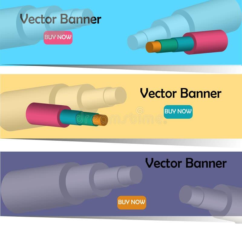 Vector a imagem do whith 3D das bandeiras das tubulações de aço na isolação da espuma ilustração royalty free