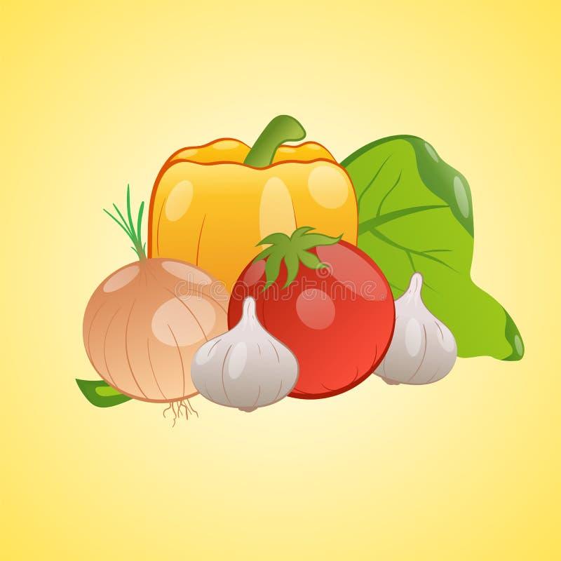 Vector a imagem dos vegetais junto em um fundo amarelo ilustração royalty free
