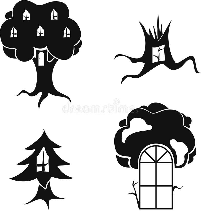 Vector a imagem estilizado das árvores com janelas e portas ilustração do vetor