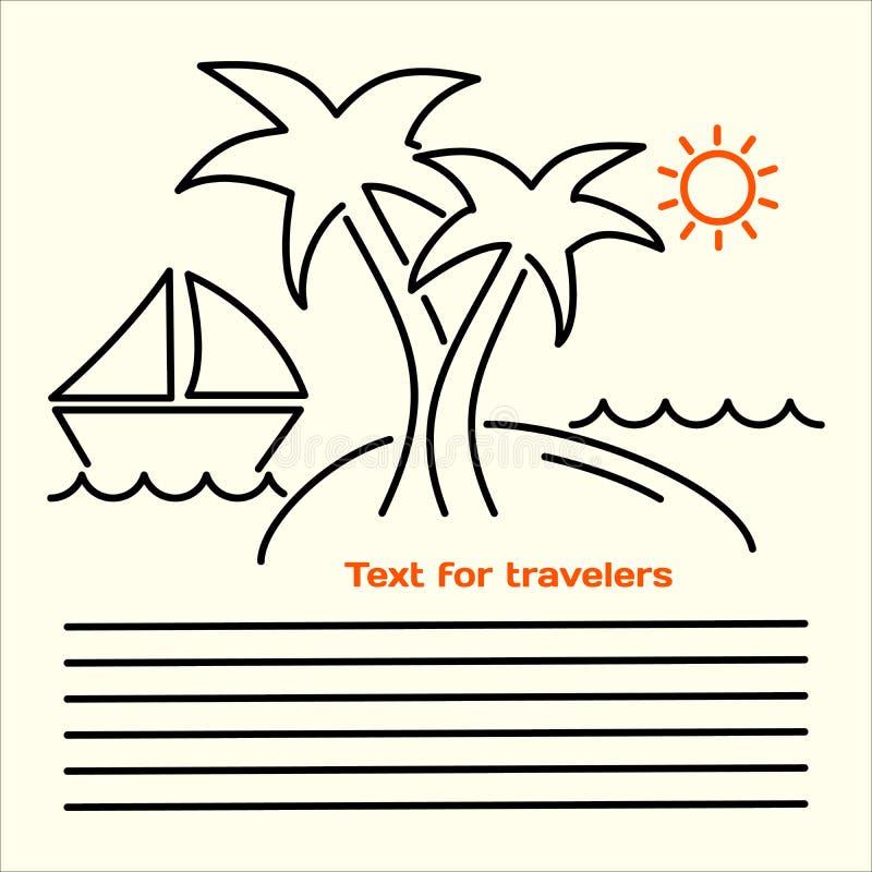 Vector a imagem linear dos folhetos para turistas com a imagem de uma ilha com palmeiras, iate, ondas do mar, o sol alaranjado e  ilustração do vetor