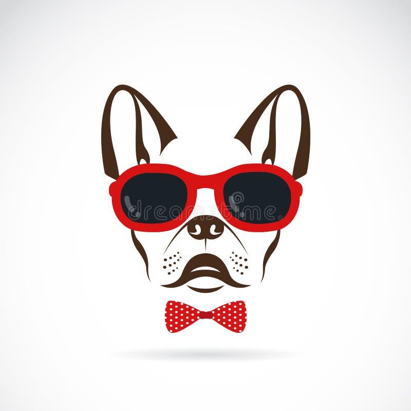 Vector imagens de óculos de sol vestindo do cão (buldogue) ilustração stock