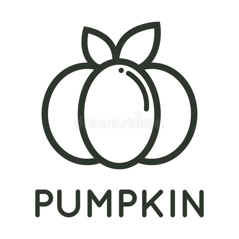 Cartoon pumpkin vector image outline with leaves and text. Vector imageof a cartoon pumpkin vector image outline with leaves and text vector illustration