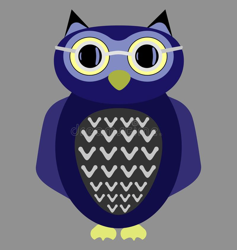 Cartoon owl wearing glasses royalty free stock photos