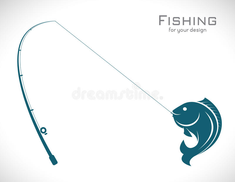 Vector images of fishing rod and fish. On white background vector illustration