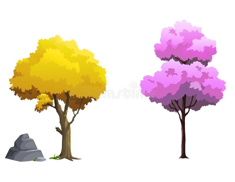 Vector images of the forest in the daytime vector illustration