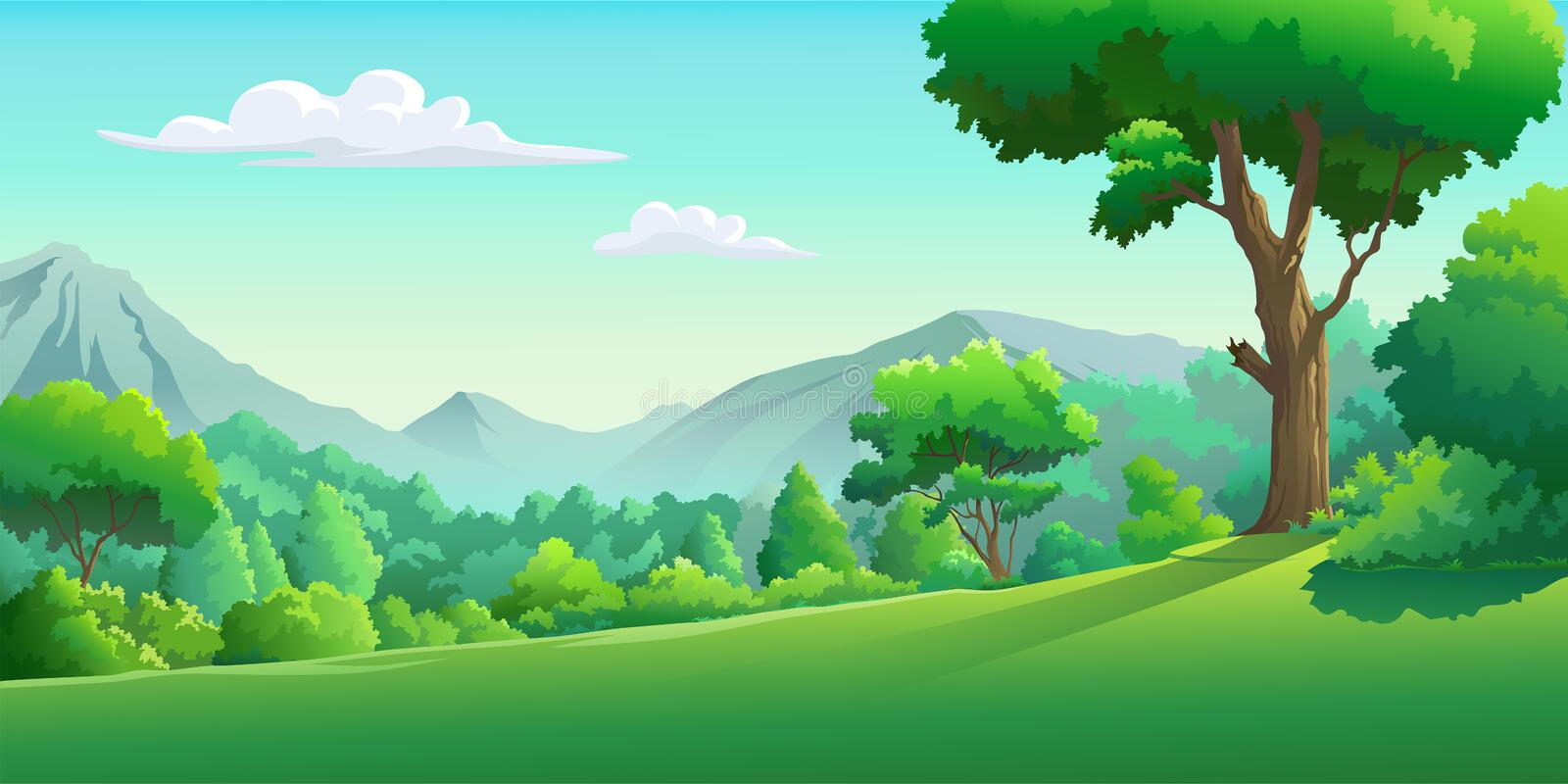 Vector images of the forest in the daytime royalty free illustration