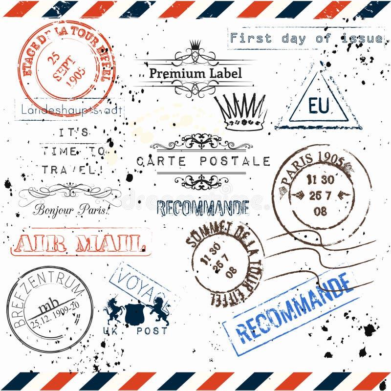 Vector imitation of vintage post stamps Paris, voyage travel voc. Collection of vector imitation of vintage post stamps Paris, voyage travel vocation theme vector illustration