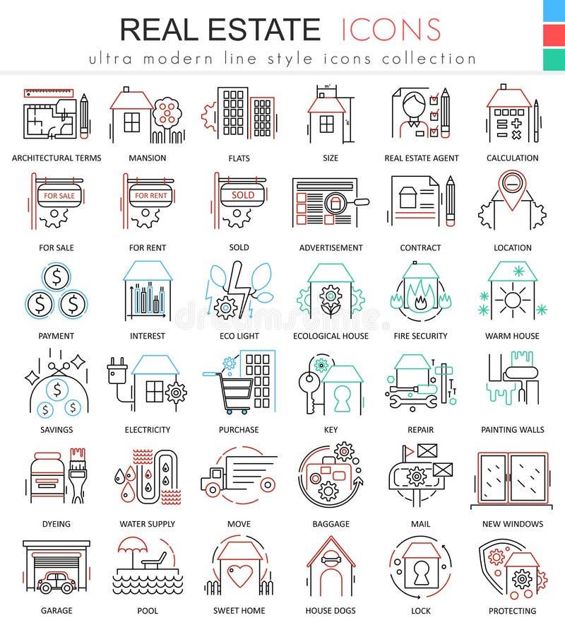 Vector Immobilienfarblinieentwurfsikonen für apps und Webdesign Immobilienikonen stock abbildung