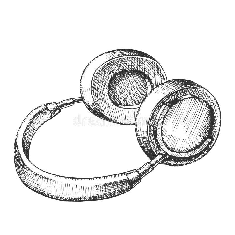 Vector inalámbrico de los auriculares del dispositivo de la música que escucha libre illustration