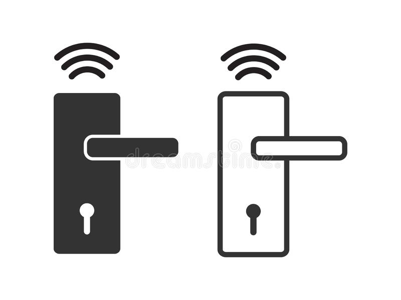 Vector inalámbrico del icono de la cerradura de puerta, sistema elegante de la cerradura para el diseño gráfico, logotipo, sitio  libre illustration