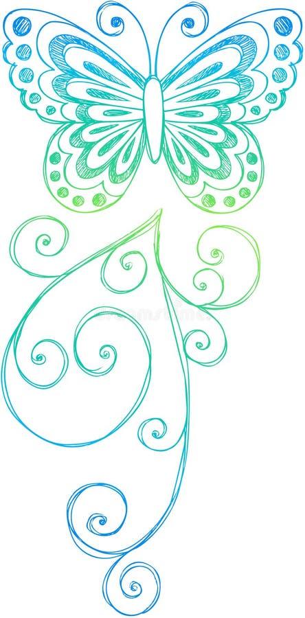 Vector incompleto de la mariposa del Doodle libre illustration