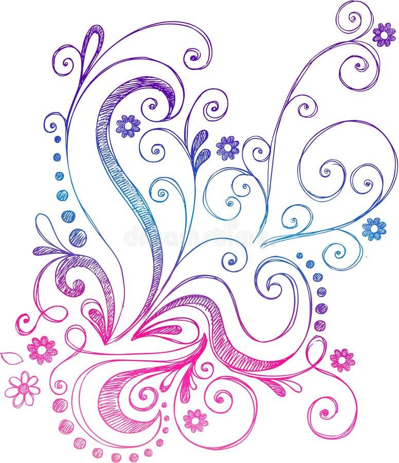 Vector incompleto de las flores y de las vides del Doodle stock de ilustración