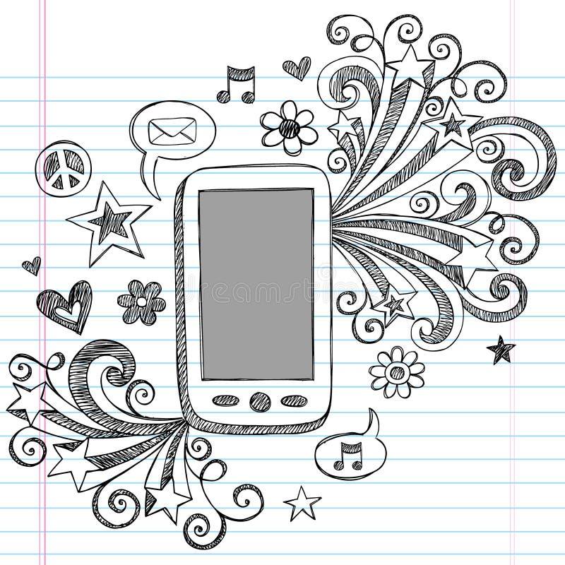 Vector incompleto de los Doodles PDA del teléfono celular libre illustration