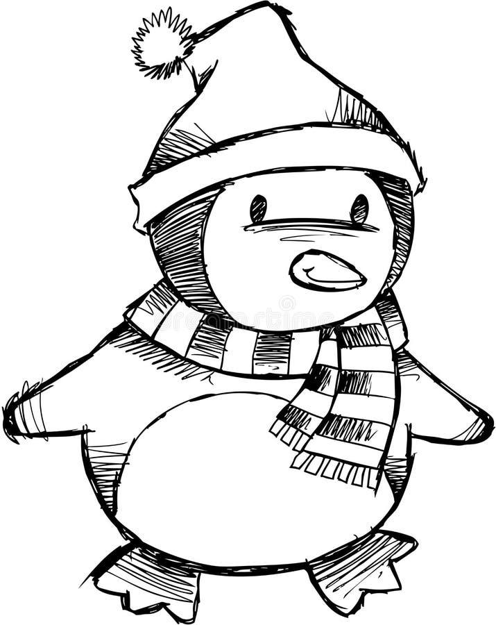 Vector incompleto del pingüino de la Navidad stock de ilustración