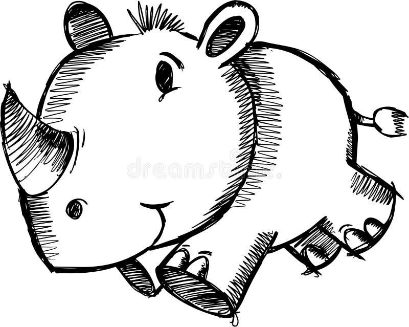 Vector incompleto del rinoceronte del safari ilustración del vector