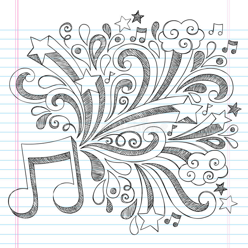 Vector incompleto Illustra del garabato del cuaderno de la nota de la música ilustración del vector