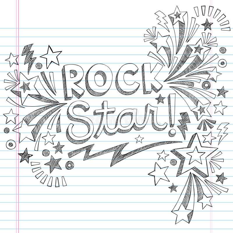 Vector incompleto Illustratio de los garabatos de la música de la estrella del rock ilustración del vector