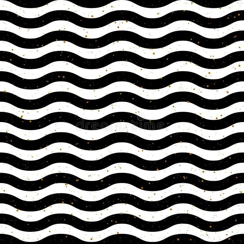 Vector inconsútil blanco y negro del modelo de la onda libre illustration