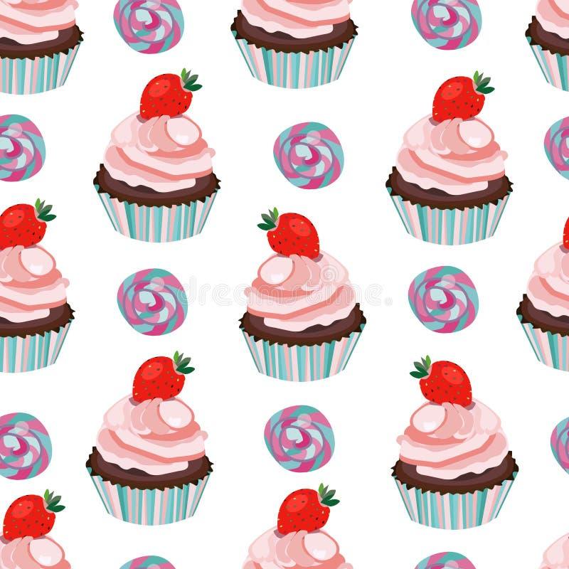 Vector inconsútil con el modelo de la magdalena, del mollete, de la torta y del caramelo Postre dulce con las fresas stock de ilustración