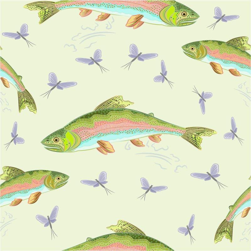 Vector inconsútil de la trucha arco iris de la textura libre illustration