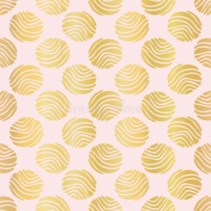 Vector inconsútil de lujo de Rose Gold Polka Dots Pattern, metálico dibujada libre illustration
