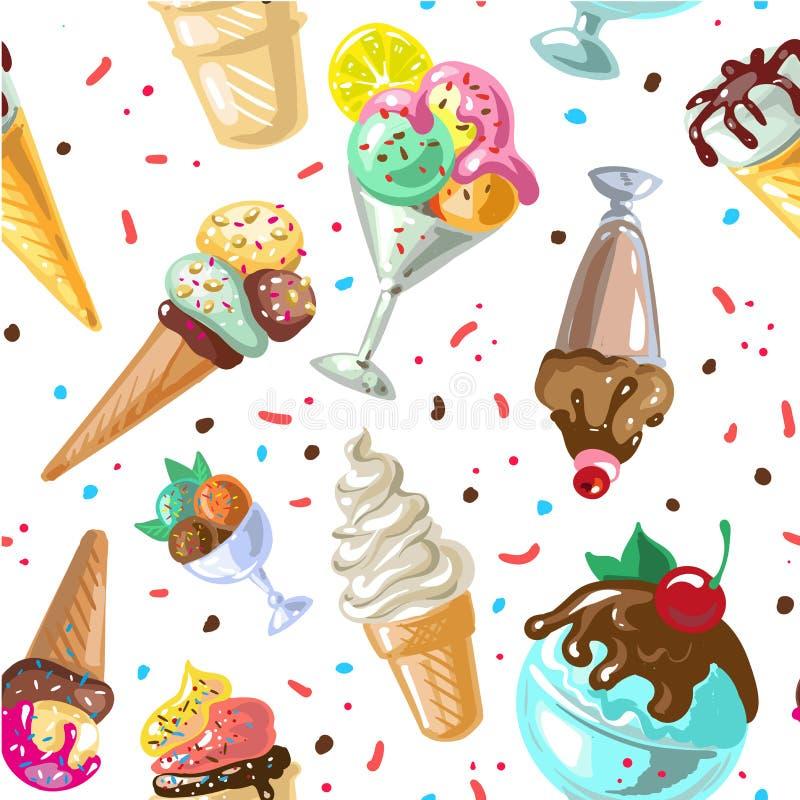 Vector inconsútil del diseño del modelo del helado aislado en blanco ilustración del vector