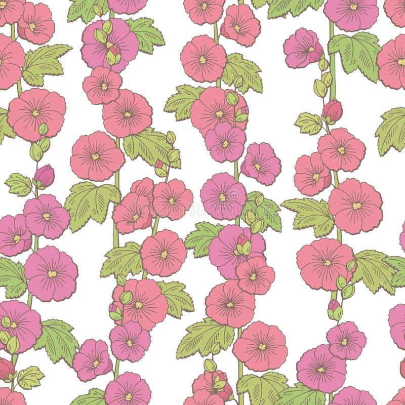 Vector inconsútil del ejemplo del fondo del modelo del bosquejo gráfico del color de la flor de la malva libre illustration