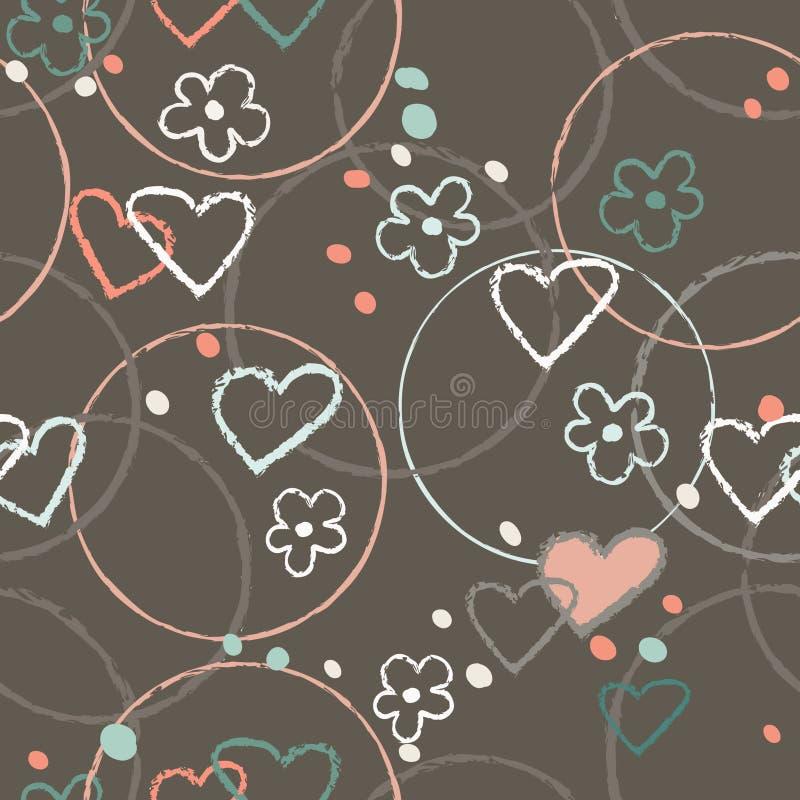 Vector inconsútil del ejemplo del modelo del garabato del corazón del color gráfico del marrón stock de ilustración