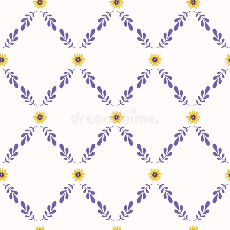 Vector inconsútil del enrejado amarillo y púrpura de la flor ilustración del vector