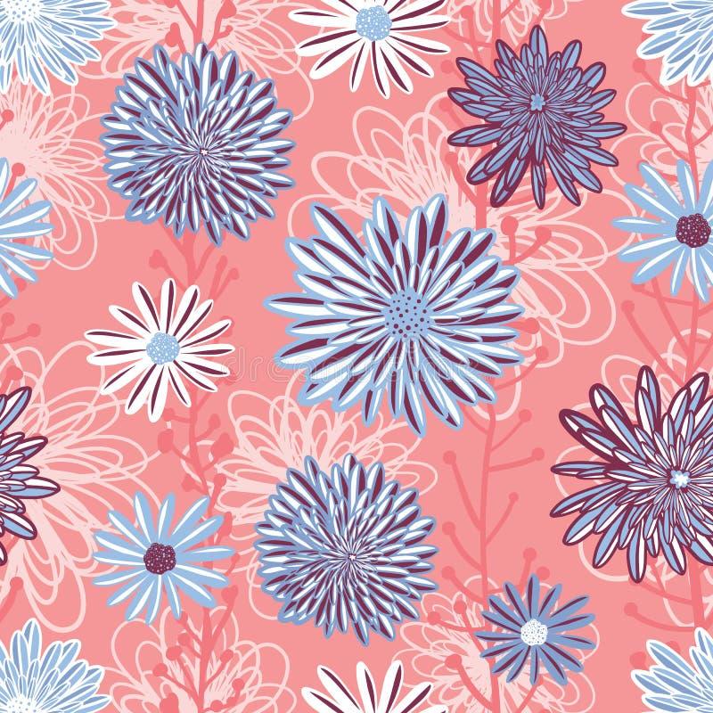 Vector inconsútil del fondo del estampado de plores Arreglo floral con el aster acodado, margarita, flores de la manzanilla en el stock de ilustración