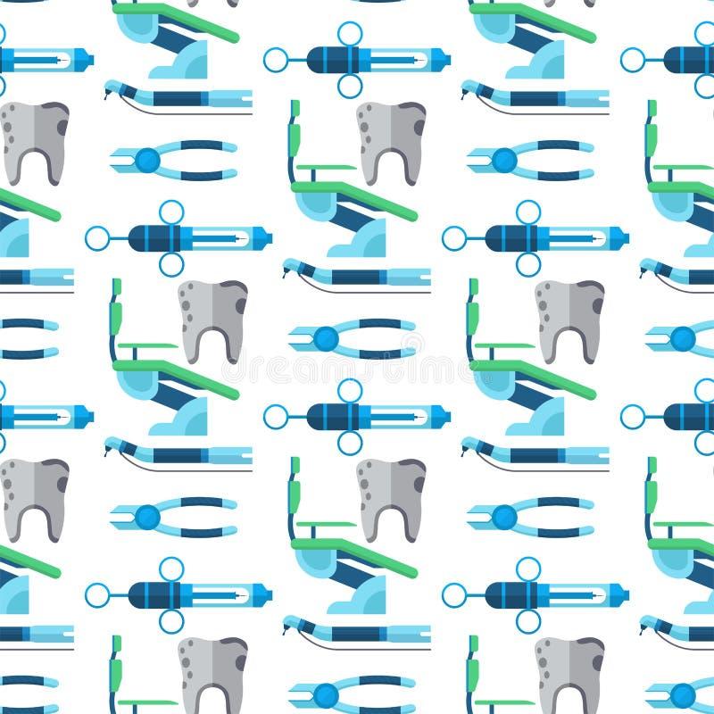 Vector inconsútil del fondo del modelo de las herramientas del dentista de la atención sanitaria de la medicina del instrumento d libre illustration