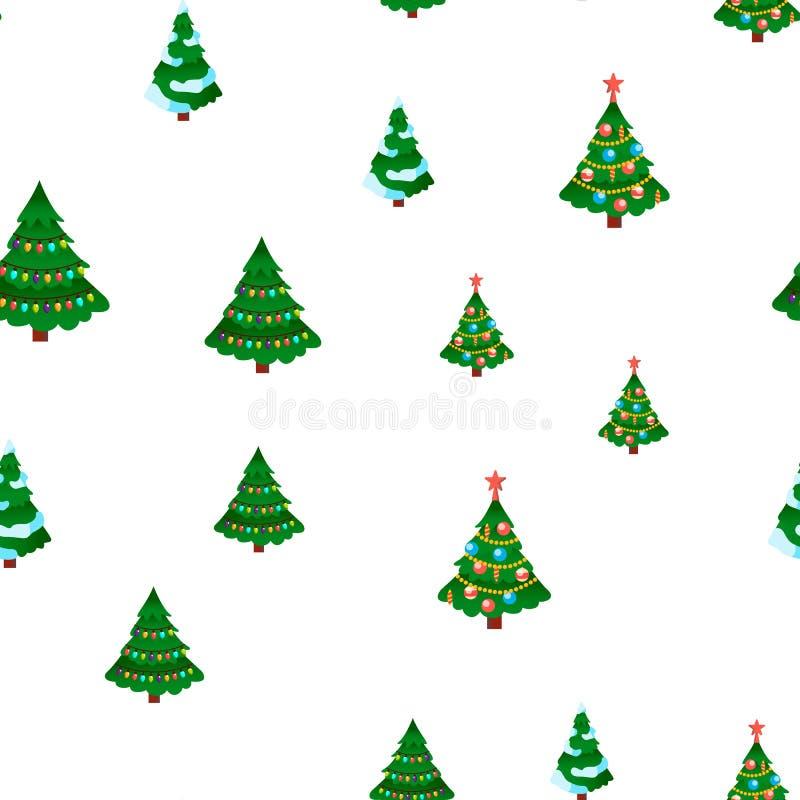 Vector inconsútil del modelo del árbol de navidad Vacaciones de invierno E Textura gráfica linda contexto de la materia textil ilustración del vector