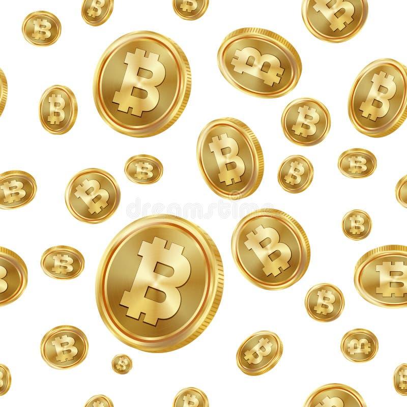 Vector inconsútil del modelo de Bitcoin Monedas de oro Moneda de Digitaces Fintech Blockchain Fondo aislado Finanzas de oro stock de ilustración