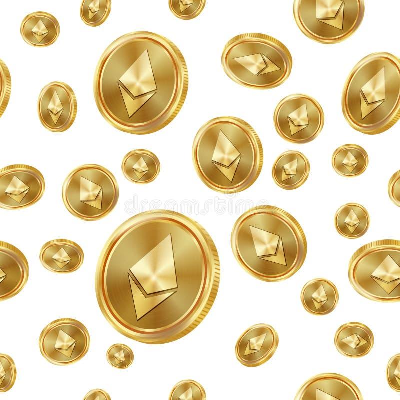 Vector inconsútil del modelo de Ethereum Monedas de oro Moneda de Digitaces Fintech Blockchain Fondo aislado Finanzas de oro ilustración del vector