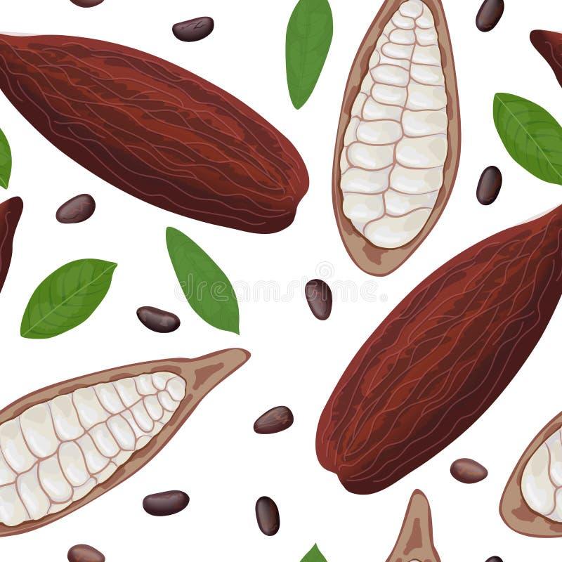 Vector inconsútil del modelo de la fruta madura fresca del cacao Hojas y habas de la vaina del cacao Color del chocolate libre illustration