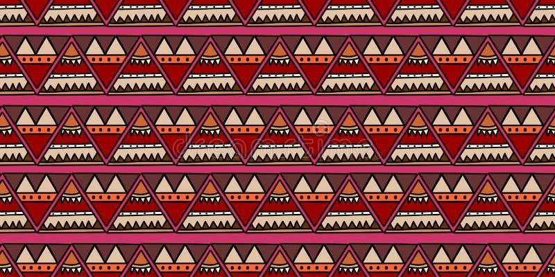 vector inconsútil del modelo de la textura tribal hecha a mano con el fondo fresco del diseño de las rayas primitivas, ejemplo ra stock de ilustración