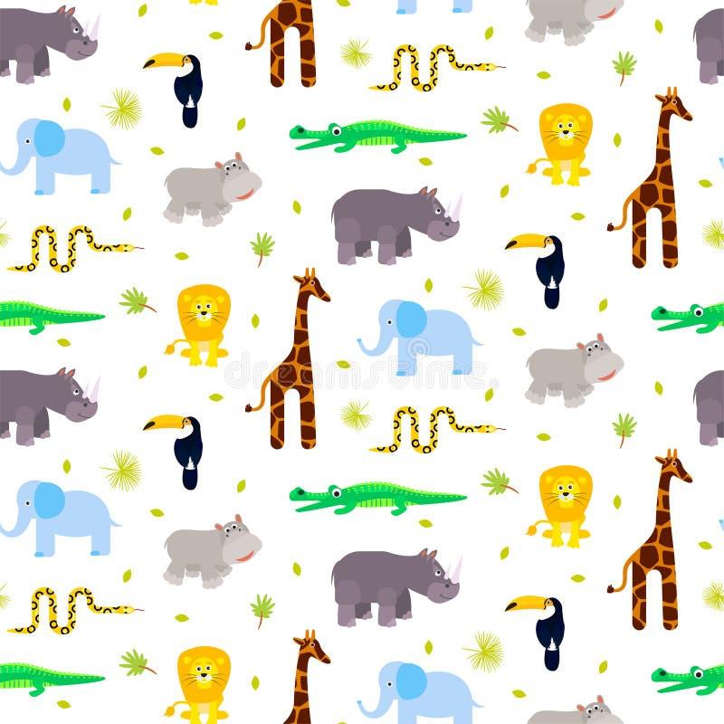 Vector inconsútil del modelo del niño de los animales del parque zoológico libre illustration