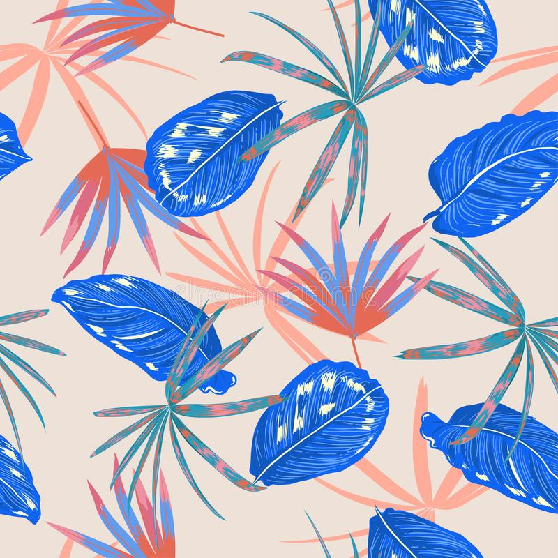 Vector inconsútil del modelo, hojas tropicales coloridas y planta en el diseño en colores pastel dulce del verano del bosque salv libre illustration